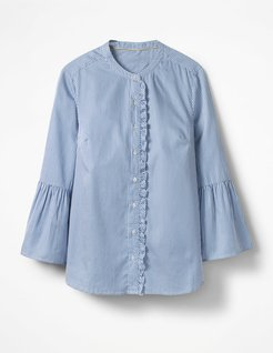 Bell Sleeve Shirt Blue and Ecru Stripe Women Boden