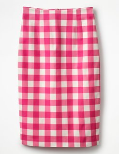 Richmond Pencil Skirt Bright Pink Gingham Women Boden