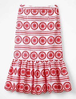 Broderie Skirt White with Red Pop Women Boden