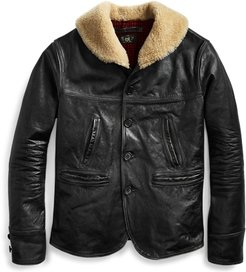 Shearling-Leather Jacket in Black Cream - Size 1