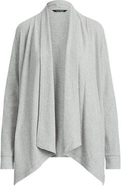 Waffle-Knit Cotton Cardigan in Pearl Grey Heather - Size SP