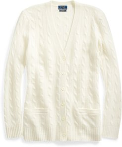 Cable-Knit Cashmere Cardigan in Cream - Size XL