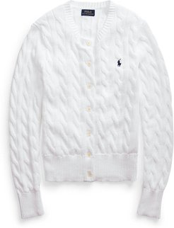 Cable-Knit Cotton Cardigan in White - Size L