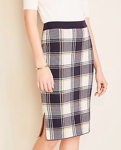 Plaid Pencil Sweater Skirt