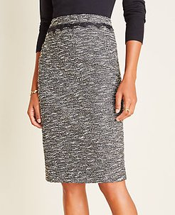 Shimmer Boucle Lace Trim Pencil Skirt