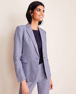 The Tall One-Button Blazer in Linen Twill