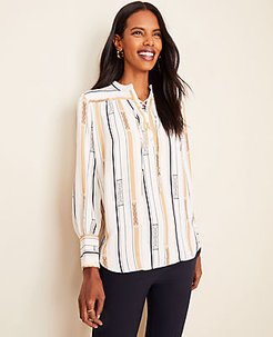 Petite Striped Lace Up Popover