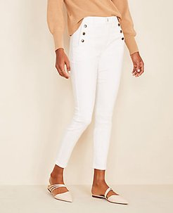 Petite High Waist Skinny Sailor Jeans in White