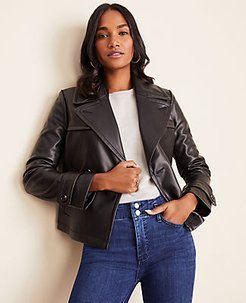 Petite Faux Leather Short Trench Coat
