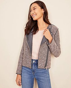 Quilted Tweed Moto Jacket