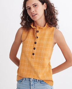 Checked Ruffle Henley Shell Top