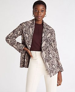 Snake Print Wrap Trench Jacket