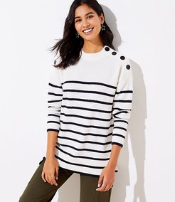 Striped Shoulder Button Tunic Sweater