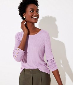 Petite Ribbed Button Cuff Long Sleeve Tee
