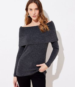 Stitchy Off The Shoulder Tunic Sweater