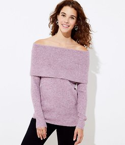 Flecked Stitchy Off The Shoulder Tunic Sweater