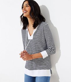 Stripe Tasseled Tie Neck Tunic Sweater
