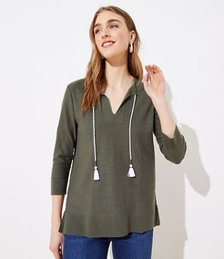Tasseled Tie Neck Tunic Sweater