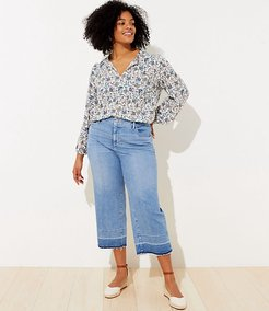 Plus Let Down Hem High Waist Wide Leg Crop Jeans in Vivid Light Indigo Wash