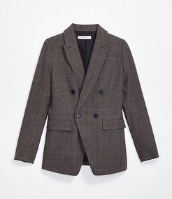 Plaid Long Double Breasted Blazer
