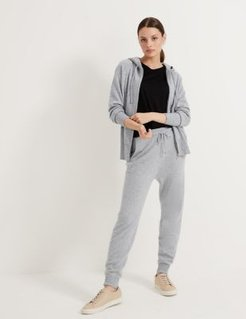 Marks & Spencer Pure Cashmere Textured Relaxed Hoodie - Grey Mix - Extra Large