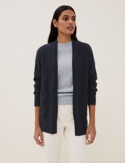 Marks & Spencer Pure Cashmere Relaxed Longline Cardigan - Navy - Small