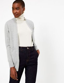 Marks & Spencer Pure Cashmere Relaxed Longline Cardigan - Grey Marl - Small