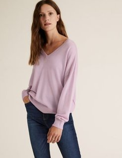 Marks & Spencer Pure Merino Wool V-Neck Relaxed Jumper - Lilac - Extra Small