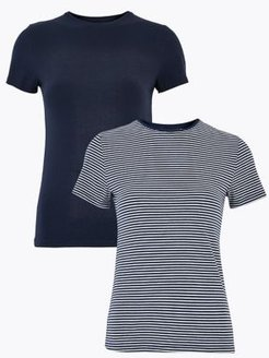 Marks & Spencer 2 Pack Cotton Fitted T-Shirts - Navy - US 14 (UK 18)