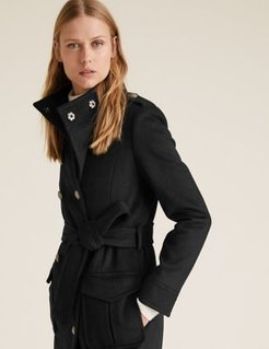 Marks & Spencer Belted Double Breasted Coat with Wool - Black - US 12 (UK 16)