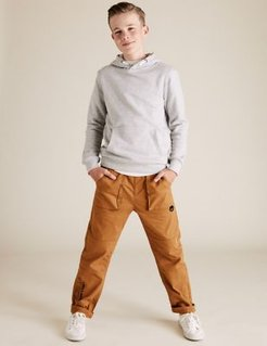 Cotton Rich Buckle Cargo Trousers (6-16 Yrs) - Tan - 9-10 Years