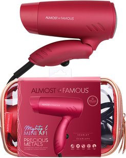 Almost Famous Scarlet Mini Travel Dryer with Holotone Carrying Bag