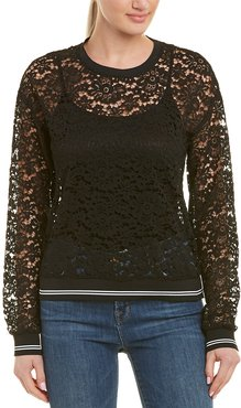 Three Dots Floral Lace Sweatshirt