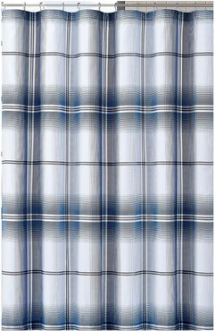 London Fog Nolan Houndstooth Stripe Shower Curtain
