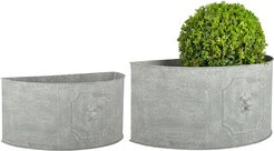 Esschert Design USA Aged Metal Set of 2 Half Round Lion Flower Pots