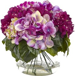 Nearly Natural Multi-Tone Beauty Hydrangea with Round Glass Vase