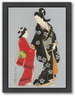 Americanflat Two Japanese Women In Kimonos by Found Image Press Framed Artwork