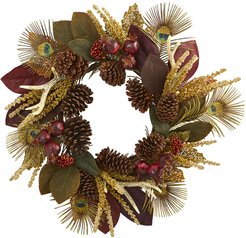 Nearly Natural Magnolia Leaf, Berry, Antler and Peacock Feather Artificial Wreath