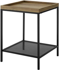 18in Square Tray Side Table with Mesh Metal Shelf