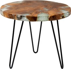 East At Main's Wellton Round Teakwood Accent Table