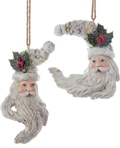 Kurt Adler Set of 2 Santa Head Ornaments