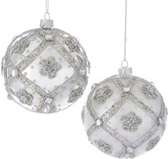 Kurt Adler Set of 2 Glittered Ball Ornaments