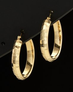 14K Italian Gold Hammered Hoops