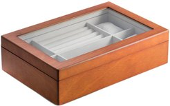 Bey-Berk Cherry Wood Valet and Watch Box