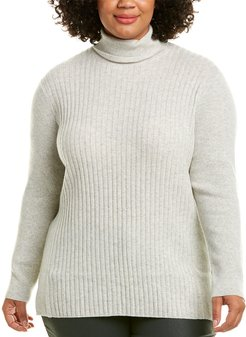 Lafayette 148 New York Plus Ribbed Cashmere Sweater