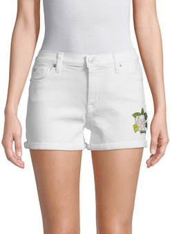 Hudson Floral Embroidered Denim Shorts