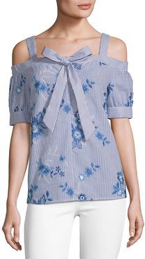 SUPPLY & DEMAND Max Stripe and Floral Cold-Shoulder Top