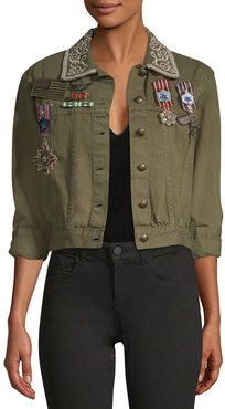 Alice + Olivia Chloe Embroidered Cropped Jacket With Pins