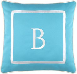 """Edie@Home Outdoor Embroidered Monogram Decorative Pillow, """"B"""""""