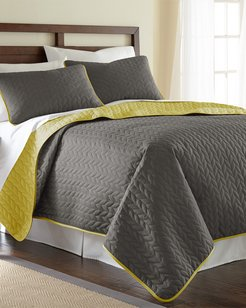 Modern Threads 3-Piece Solid Reversible Coverlet Set